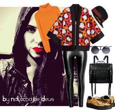 sachadreams: Kenzo X H&M Orange Shirt, Gold Shoes, Silk Kimono, Faux Leather Leggings, Kenzo, Round Sunglasses, Alexander Mcqueen, Posts, Blog