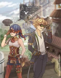 my friend @aclahayr and i decided to do a steampunk AU! he wrote a fic, which you can check out here, and i worked hard to draw these to go along with it! hope you all like it<3