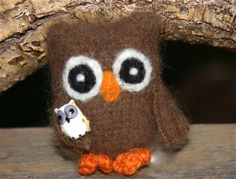 Baby Brown Owl fuzzy angora Owl holding a little by woolcrazy, $18.00