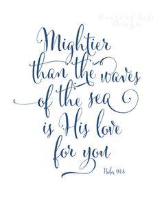 Printable art Bible verse art print Psalm 93 by HeartOfLifeDesign