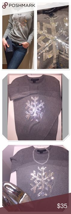 """French connection snowflake sequined sweater Brand new, no tags, never worn. Perfect for fall and winter parties! Length-28"""" pit to pit - 17"""". Style it with jeans and boots for casual look or with blazer for office! 72% viscose/ rayon, 26% nylon, 2% elastane. French Connection Sweaters Crew & Scoop Necks"""