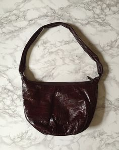 1970s genuine eel skin purse / oxblood red hobo by minminvintage
