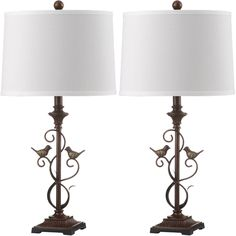 Safavieh Indoor 1-light Birdsong Oil-Rubbed Bronze Table Lamp (Set of 2)