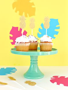 There's no denying that the pineapple is this year's biggest trend. You see it everywhere, from accessories, to kids clothes, to party decorations. Pineapple Cupcakes, Craft Shop, Summer Crafts, Rosettes, Cupcake Toppers, More Fun, Parties, Decorations, Sun