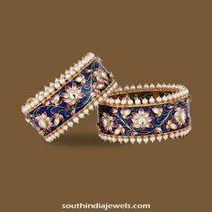 Gold Kundan meenakari bangle design for TBZ. The bangle is made of floral motifs and designed with pearls. For inquiries please contact TBZ official site.