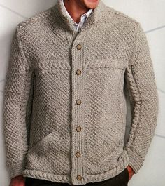From Knitting Off the Axis by Mathew Gnagy. Pinterest Mode, Gents Sweater, Mens Fashion Sweaters, Crochet Cardigan, Sweater Cardigan, Mens Jumpers, Knitwear, Menswear, Knitting