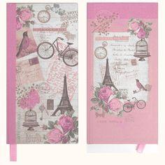 2 x Vintage Pink Paris Design Girls Casebound Slim Notebooks - 100 Lined Pages