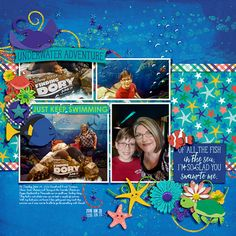 Deep Blue Sea by CherylAshcraft, 4 photo scrapbook layout, design on a band but has diagonal flow