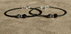 Labradorite Bracelet, Black Spinel Bracelet, Gemstone Bracelet, Black Bracelet, Black Onyx Bracelet, Skinny Bracelet, Dainty Bracelet by ThreeMagicGenies on Etsy