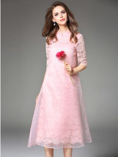 c9ed622101 Pink Lace Organza Patchwork Hollow Sleeve Stand Collar Chinese Cheongsam  Midi Dress