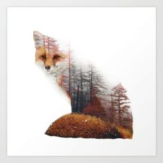 Misty Fox Art Print by yazdesigns - SanneFineArt - Misty Fox Art Print by yazdesigns Cheeky and quirky, foxes are nature's way of having fun. Whether bounding around in a forest or slyly devising plans, the world's 25 species of fox are celebr - Animal Drawings, Art Drawings, Animal Art Prints, Fuchs Tattoo, Fox Drawing, Drawn Art, Fox Print, Amazing Art, Cool Art