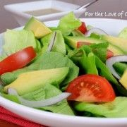 Avacado and butter leaf salad with tangy mustard garlic vinaigrette.