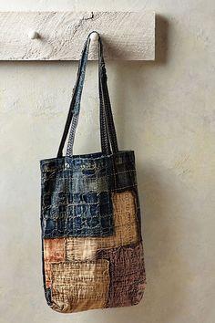 "Japanese Embroidery Sashiko from Kapital ""Japanese denim house"" available at Anthropologie - Shibori, Sashiko Embroidery, Japanese Embroidery, Boro Stitching, Japanese Textiles, Denim Bag, Fabric Bags, Handmade Bags, Handmade Bracelets"