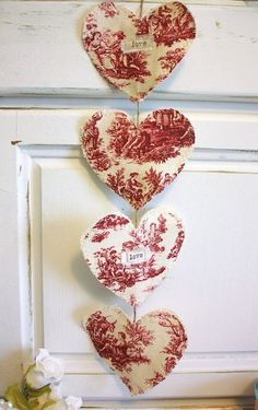 I Love this Easy DIY String of French Hearts for Valentine's Day!  See More at thefrenchinspiredroom.com
