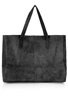 Topshop Snake-Effect Suede Shopper Bag #bag #style #black