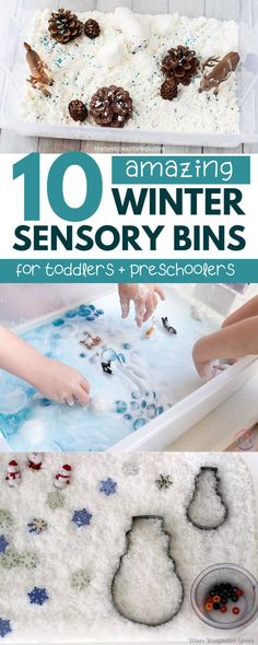 The best winter sensory bins for toddlers and preschoolers! These easy winter sensory bins provide fun and educational sensory play that your toddler will love. preschool Winter Sensory Bins for Toddlers and Preschoolers Toddler Sensory Bins, Sensory Tubs, Sensory Boxes, Sensory Play, Toddler Preschool, Toddler Crafts, Toddler Activities, Sensory Activities For Preschoolers, Indoor Activities