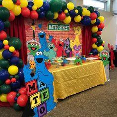 Customized banner and prop. Elmo First Birthday, Boys 1st Birthday Party Ideas, Happy Birthday, Sesame Street Centerpiece, Sesame Street Decorations, Elmo Party, Mickey Party, Dinosaur Party, Dinosaur Birthday
