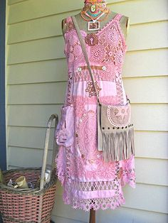 Upcycled dyed pink linens doilies dress