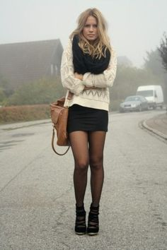 sheer tights, bodycon skirt, slouchy sweater, big knitted scarf, short boots
