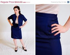 $40 Blue 1960s Navy Skirt suit set / Small SweetJubileeGirls
