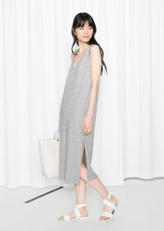 & Other Stories | Melange Cotton Blend Dress perfect for hot summer days. Gorgeous white cross strap leather sandles.