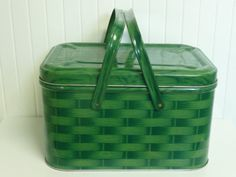 Green Tin Metal Picnic Basket, Basket Weave Lithograph with Metal Handles