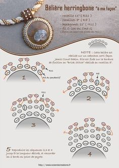 Free tutorial - Herringbone bail. Diagram, instructions in French