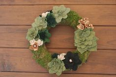 Felt Succulent Wreath 14 inches 015 by KKeithDesigns on Etsy