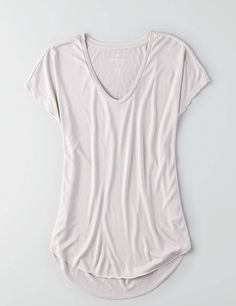 AEO Soft & Sexy V-Neck Scoop Jegging T-Shirt , Stone Grey   American Eagle Outfitters