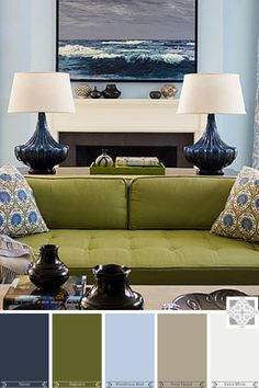 50 Ideas living room green couch decor wall colors for 2019 Olive Living Rooms, Blue And Green Living Room, Navy Living Rooms, Room Paint Colors, Living Room Color Schemes, Paint Colors For Living Room, Living Room Designs, Wall Colors, Green Couch Decor