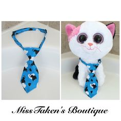"""Condition: Brand New - Handmade  Light weight & comfortable!  Size: Neck 9-15"""" (23cm-38cm)  Tie: 7cm Long  Material: Polyester, Plastic Clip Closure  ✿ Ties are for fashion purposes only. Please supervise your pet when wearing any accessories ✿"""