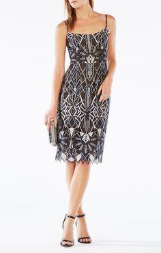 $398 BCBG Alese Deco Lace Dress