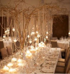 Great alternative to flowers. Branches and candles add there own special touch and ambiance to a room. They bring just the right amount of romance while still being sophisticated.