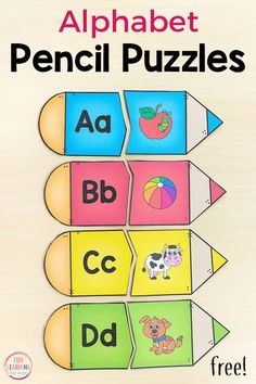 ALFABET PUZZLE CREIOANE These pencil alphabet puzzles are perfect for your back to school theme. Add them to your alphabet or literacy center in preschool or kindergarten. Kindergarten Lesson Plans, Kindergarten Centers, Preschool Lessons, Preschool Learning, Learning Activities, Abc Centers, Learning Centers, Free Preschool, Preschool Printables