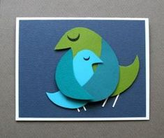 Art lessons for kids. Do-it-yourself Applique Card on Mother`s Day - BIRDS