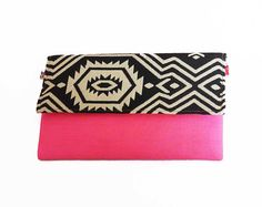 #NEON #PINK #envelope #trendy #bags #CLUTCH bag/ black pink bag by #iThinkFashion