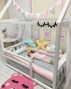 Hausbett - home decorating ideas - Babyzimmer Baby Bedroom, Baby Room Decor, Nursery Room, Girls Bedroom, Girl Toddler Bedroom, Trendy Bedroom, Bedroom Ideas, Little Girl Bedrooms, Kid Bedrooms