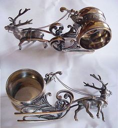 Vintage Silver Reindeer Sleigh Napkin Ring | I need a set of these.
