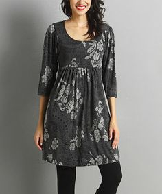 Look what I found on #zulily! Charcoal & Gray Paisley Empire-Waist Dress #zulilyfinds