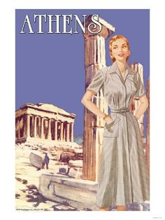 Buyenlarge Athens Fashion, 1950 Vintage Advertisement on Wrapped Canvas Old Posters, Vintage Travel Posters, Party Vintage, Vintage Ads, Illustrations Vintage, Illustrations Posters, Mykonos, Pub, Poster Pictures
