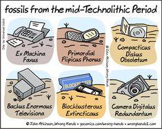 Technolithic Fossils - A Cartoon by John Atkinson