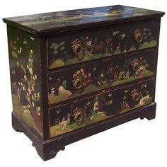 Antique English Chest, New Naive Chinoiserie Decoration | From a unique collection of antique and modern commodes and chests of drawers at https://www.1stdibs.com/furniture/storage-case-pieces/commodes-chests-of-drawers/