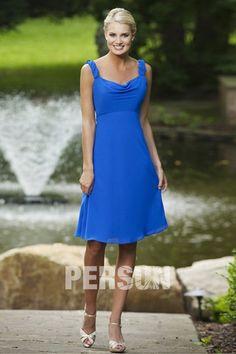 Robe demoiselle d'honneur bleu en mousseline léger drapé