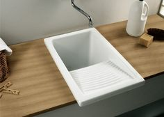 Laundry Sink with Drainer - 605 x 390 x 375 mm - Including Plug