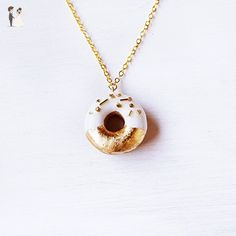 Elfi Handmade Gold and White Sprinkle Donut Necklace, Donut, Miniature Dessert Food Jewelry, Elegant, Kawaii, Donut Charm, Wedding Gift, Perfect for Christmas gifts - Wedding nacklaces (*Amazon Partner-Link)