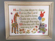 Vintage Baby Nursery Prayer Cross Stitch by TrueVintageStyleCo