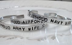 Hand Stamped Military Support Army/Navy/Air Force/Marines/Guard for the wife, girlfriend, fiance, mom, sister...