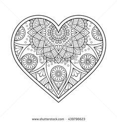 Flower Mandalas. Vintage decorative elements. Oriental pattern illustration. Islam, Arabic, Indian, turkish, pakistan, chinese, ottoman motifs Heart Coloring Pages, Pattern Coloring Pages, Colouring Pages, Adult Coloring Pages, Coloring Sheets, Coloring Books, Mehndi, Trippy Drawings, Flower Henna