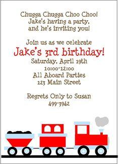 Personalized Choo Choo Train Birthday Party Invitations...Boys, Children, Train, Locomotive, Chugga Chugga, Choo Choo, Red, Toddler, Blue. $13.00, via Etsy.