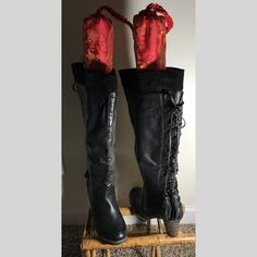 """new BLACK boots women ooo so sexy! size 8 laced up behind knee high 4"""" heel 